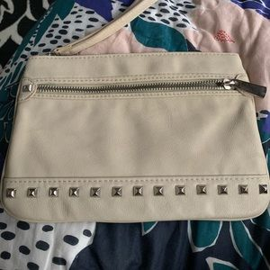 Express nude clutch with silver studs